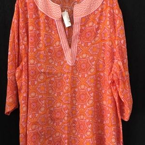 Saint Tropez West  Colorful Flowered blouse NWT
